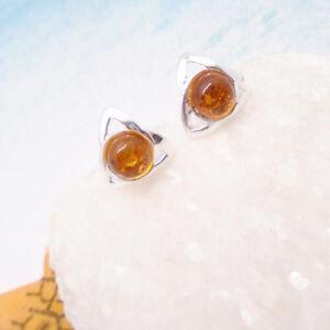 Bernstein-orange-rund-Dreieck-Design-Ohrringe-Ohrstecker-925-Sterling-Silber-neu