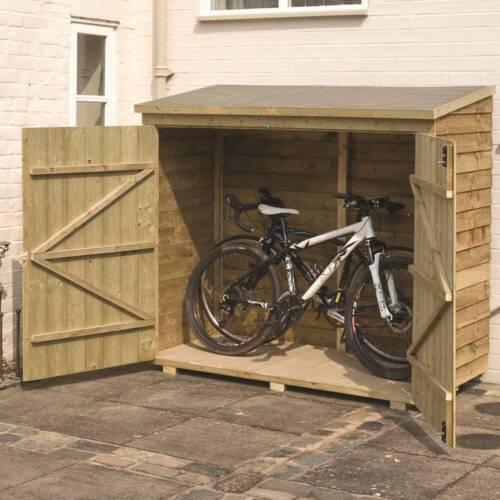 Buckthorn 6 x 3 Wooden Bike Shed Wall Storage Organizer Bike Gardening Tools New