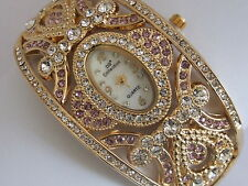 DB Collection Colour Jewelled Gold Tone Crystal Fashion Bangle Design Watch