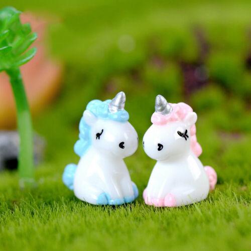 2pcs Unicorn Miniature Figurine Fairy Garden Dollhouse Decor Micro Landscape  I