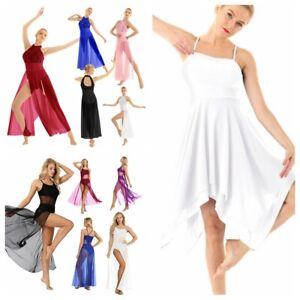 Contemporary-Women-Girl-Lyrical-Ballet-Dance-Dress-Chiffon-Maxi-Dress-Dancewear