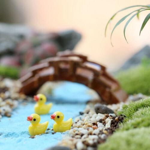 10pcs Miniature Resin Yellow Ducks Dollhouse Craft Fairy Garden Bonsai Decor  SG