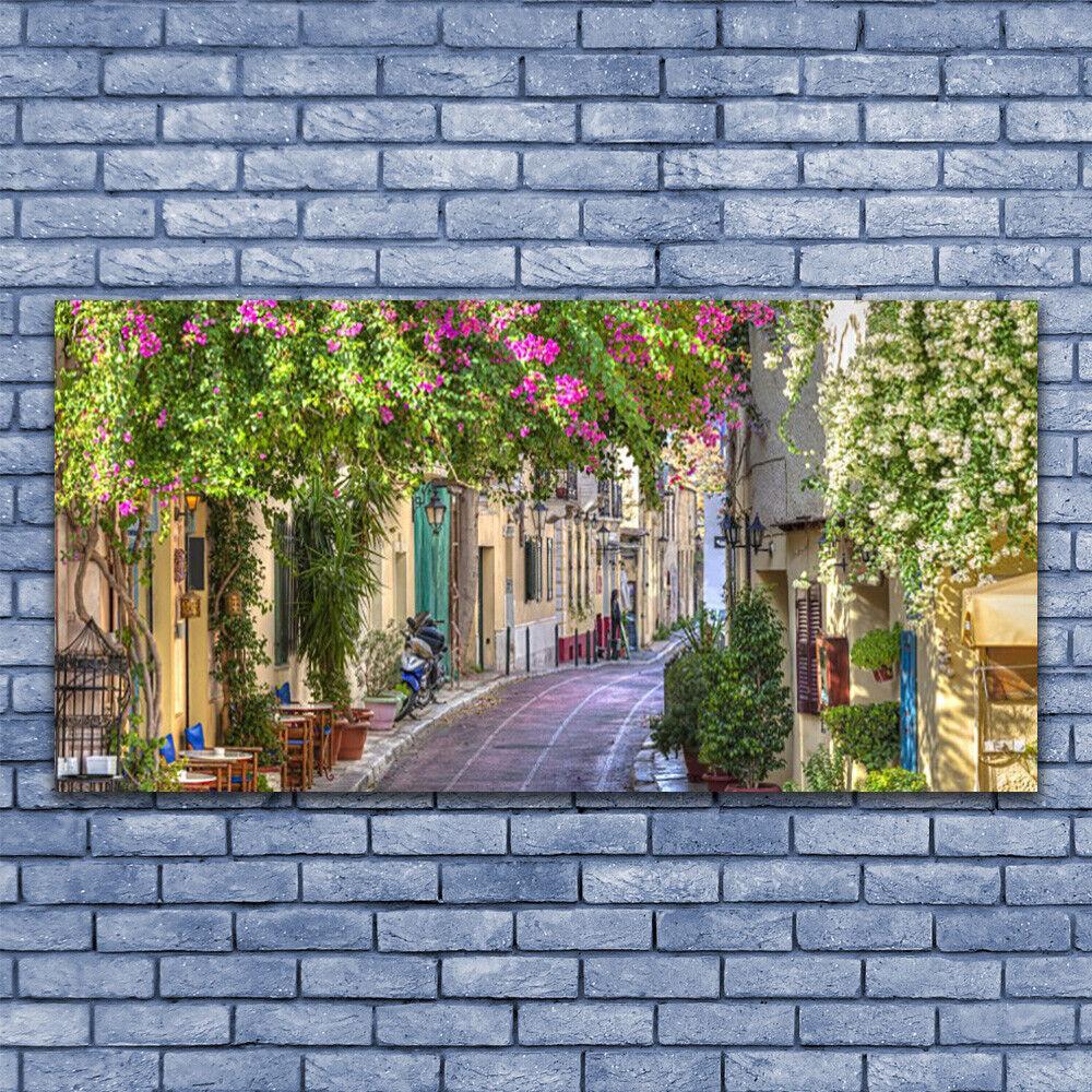 Leinwand-Bilder Wandbild Leinwandbild 140x70 Gasse Häuser Pflanzen