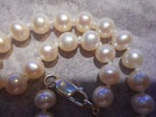 Cultured Pearl bracelet AA+ White 7mm Big Ster clasp knotted silk Vintage Mint