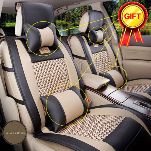 PU Leather Car Seat Cover 5 Seats Front+Rear Size L Mesh Cushion W//Pillow Summer
