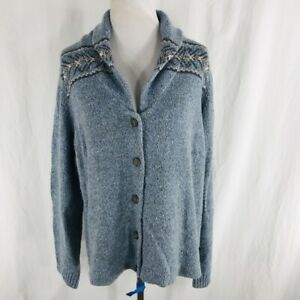 Vintage-90s-Woolrich-Wool-Blend-Blue-Cowl-Neck-Cardigan-Sweater-Size-XL