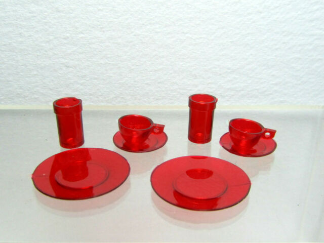Dollhouse Miniature Red Plastic Chrysnbon Dish /& Cup Sets with Rims on Cups