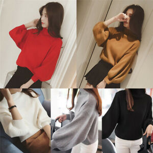 Women-Winter-Warm-Loose-Long-Lantern-Sleeves-Turltleneck-Knit-Sweater-Top-Jumper