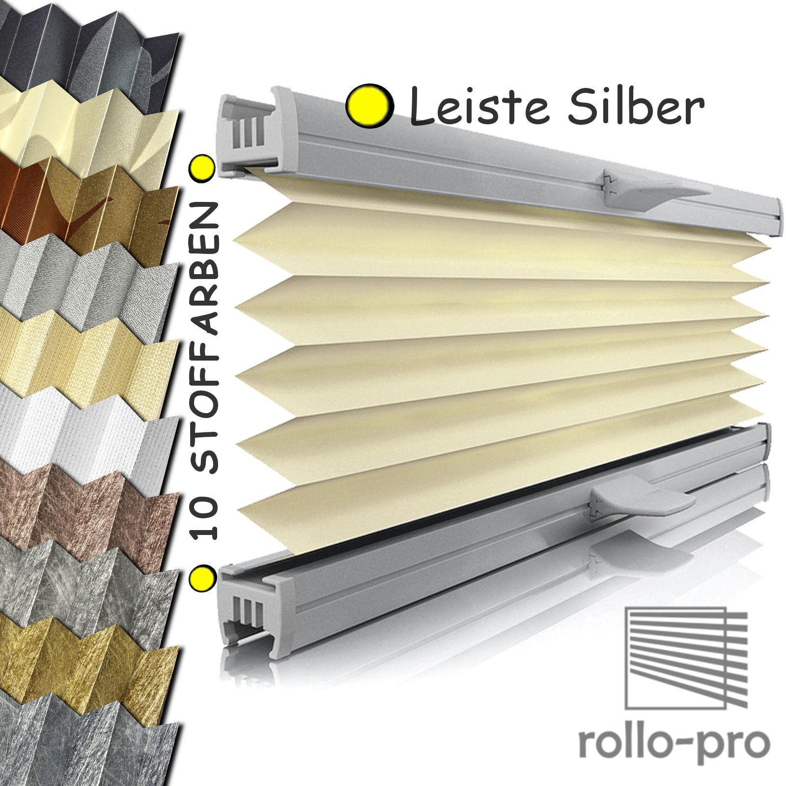 Plissee Faltrollo ohne Bohren Plisee nach Maß Klemmfix  METALLICO  Profil Silber