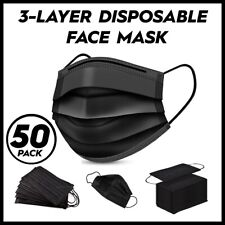 50 Pcs Black Face Mask Mouth Amp Nose Protector Respirator Masks W Filter In Box