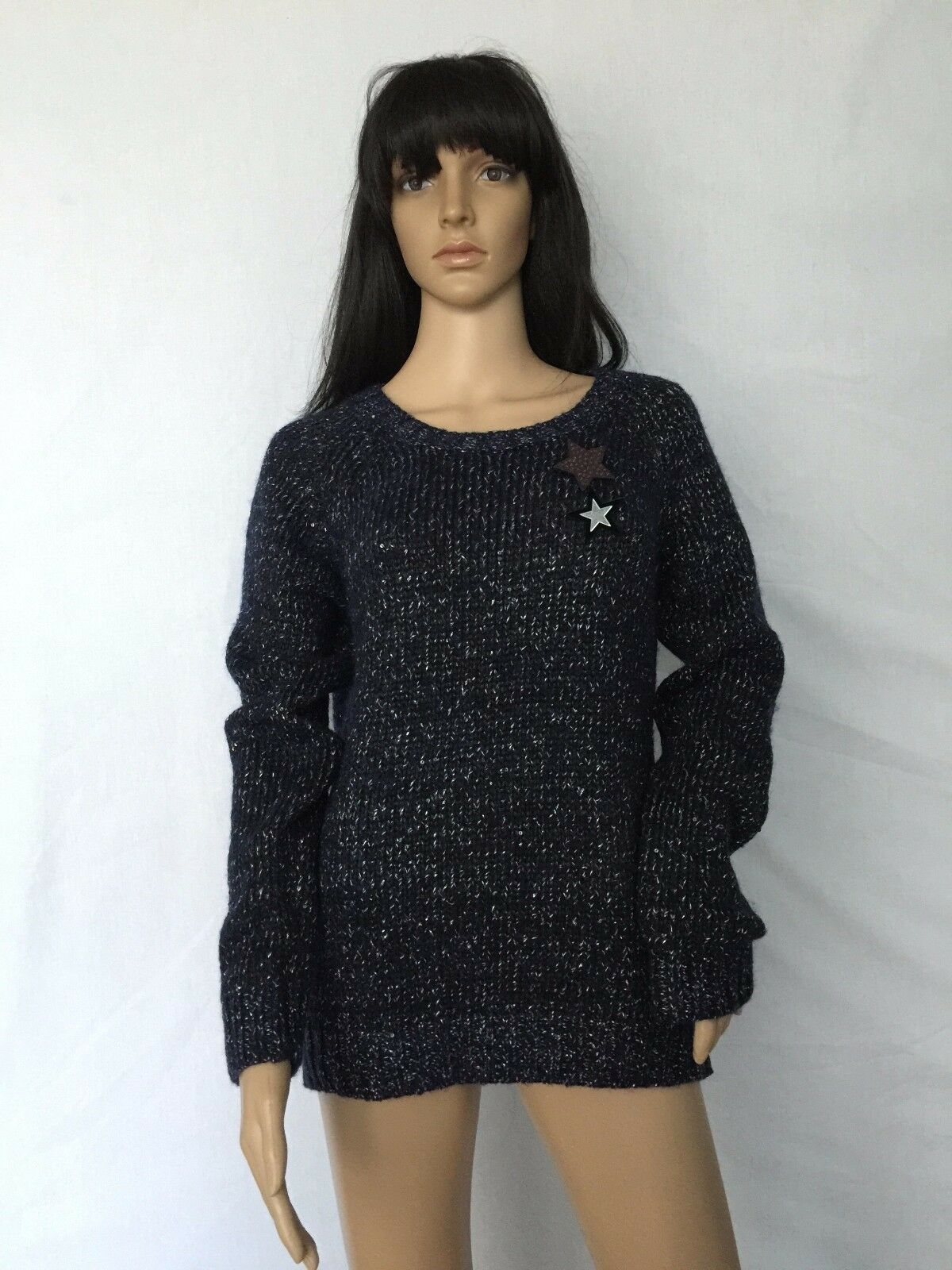 NWT  Maison Scotch Star Wool Sweater Cardigan Jumper Sz 4 US XL 16-18