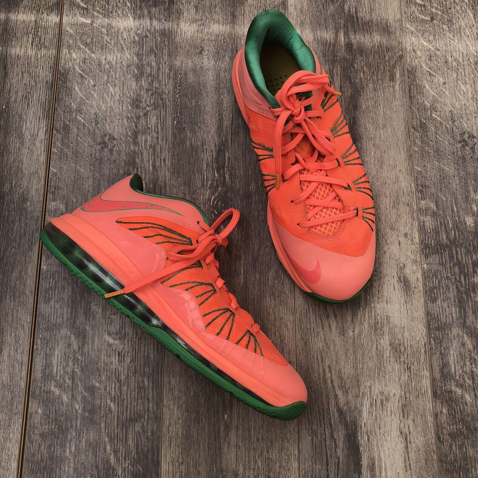new concept afec1 60656 Nike Air Max Lebron X X X 10 Low Mango Green Watermelon shoes 579765-801 Sz  10.5