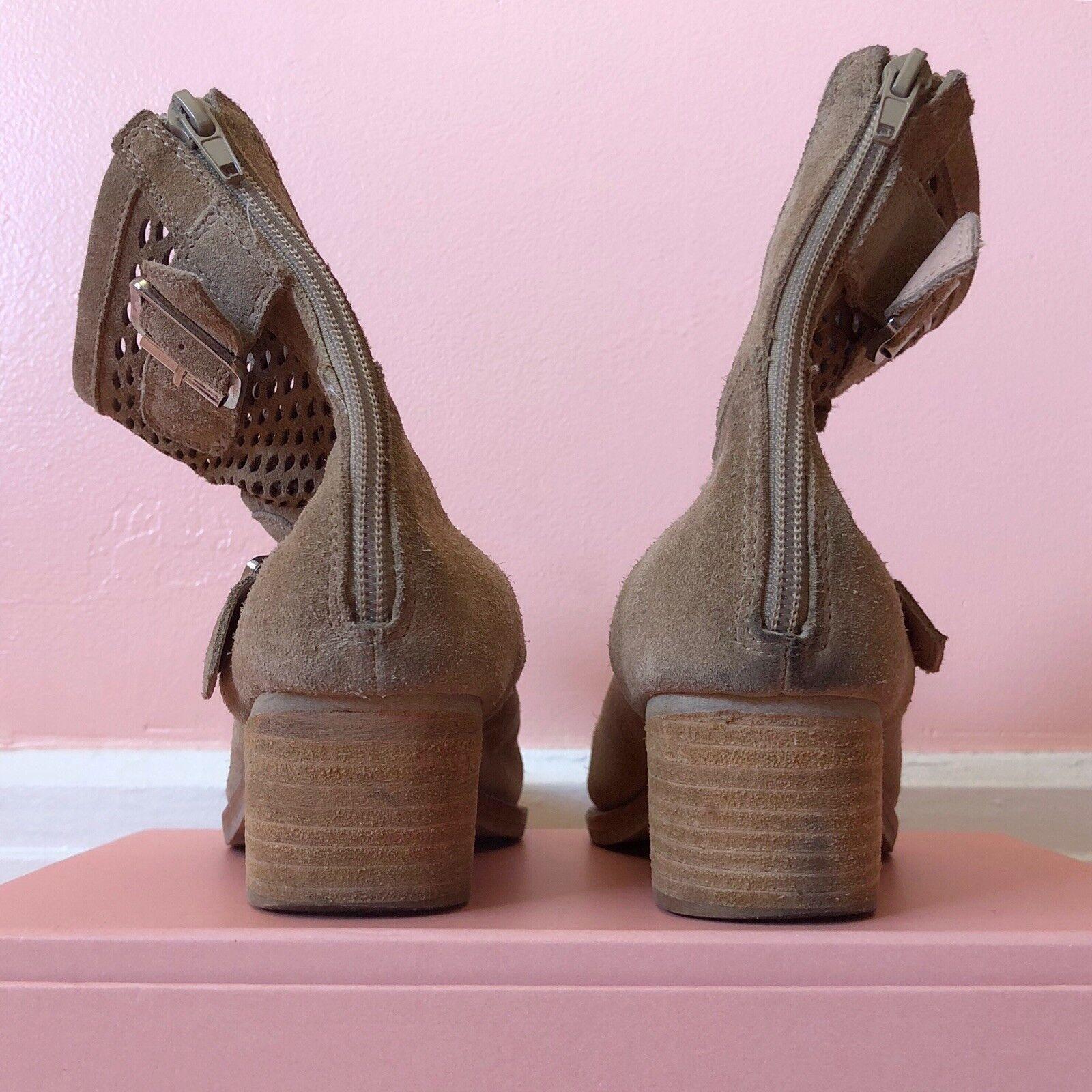 Jeffrey Campbell Tan Suede Mesh Mesh Mesh Buckle Stiefelies 68a59c