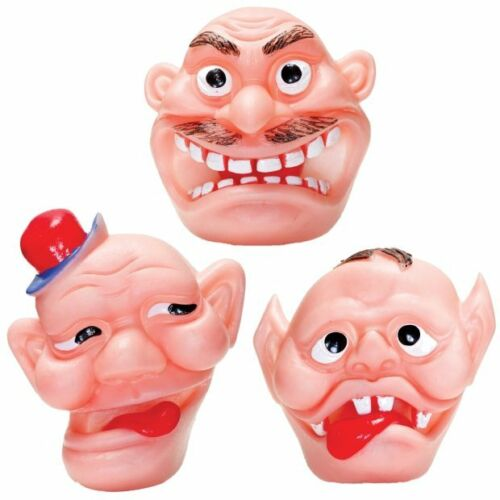 Set di 3 flexiface Toys-Giocattoli Divertimento gommosa faccia con fori in per le dita