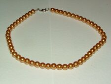 GOLDEN YELLOW GLASS PEARL NECKLACE SILVER PL CATCH  strand 16 INCH PRL