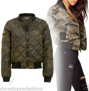 NEW-PADDED-Womens-Camo-Bomber-Jacket-Size-8-10-12-14-16-Quilted-Army-Coat-Khaki
