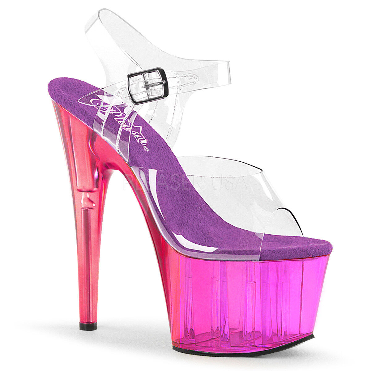 PLEASER ADORE 708MCT PURPLE TINTED PLATFORM POLE DANCING STILETTO SANDALS