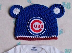 6ed45c8e938 Image is loading New-Handmade-Crochet-Chicago-Cubs-Baby-Hat
