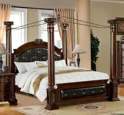 New Mandalay Elegant Leatherette Brown Cherry Finish Wood Queen King Canopy Bed Ebay