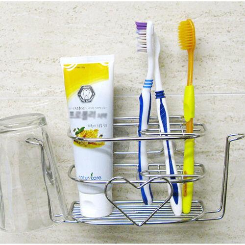 Kitchen Art Steel Toothbrush Holder Wall Mount Home Bathroom Suction Rack Hanger