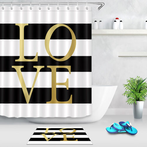 Gold Live Life Laugh White /& Black Striped Shower Curtain Liner Polyester Fabric