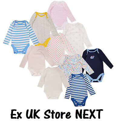 Baby Girls 3 Pack Bodysuits Long Sleeve EX Store Cotton Vests 0-36M