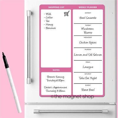 Repas /& Shopping List Planner format A5 aimant de réfrigérateur Divers Types Et Couleurs