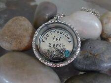 Floating Locket necklace in Memory of baby memorial custom plate charms wings