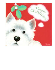 Westie West Highland Terrier Cards: Christmas Kiss - Pack of 4