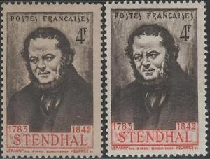 FRANCE-STAMP-TIMBRE-N-550-034-STENDHAL-BELLE-VARIETE-COULEUR-034-NEUFS-xx-LUXE