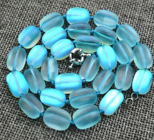 "New10x14mm Light blue irregular Gleamy Rainbow Moonstone gem Beads Necklace 18"""