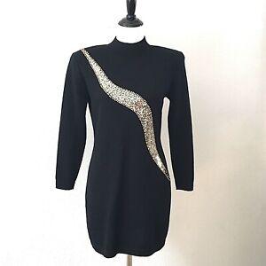 Vtg-ST-JOHN-EVENING-Black-Gold-Sequin-Santana-Knit-Sheath-Dress-Size-6