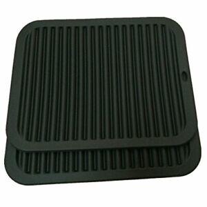 9-034-X12-034-Big-Silicone-Trivets-Set-Pot-Holder-Multi-Purpose-Black-Rectangular