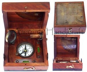 Antique-Brass-Marine-Master-Box-amp-Nautical-Compass-Telescope-Magnifying-Glass