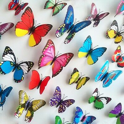 12Pcs 3D Butterfly Wall Stickers Fashion Flower Removable Decor Art DIY Murals