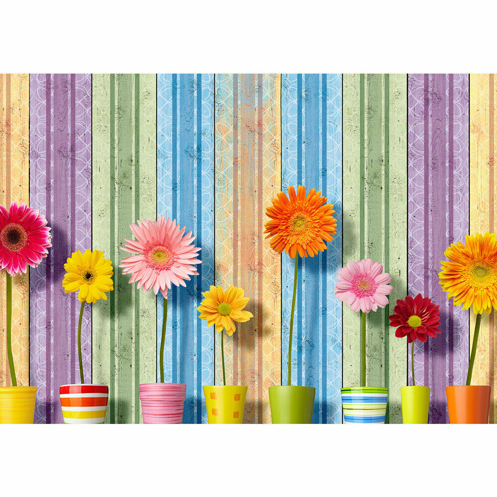 Photo Wall Paper Flowers Blossoms Sunflowers Stripes Liwwing No. 2561