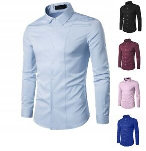Hommes-Casual-Formal-Shirts-Slim-Fit-Shirt-Top-a-manches-longues-M-L-XL-XXL-PS29