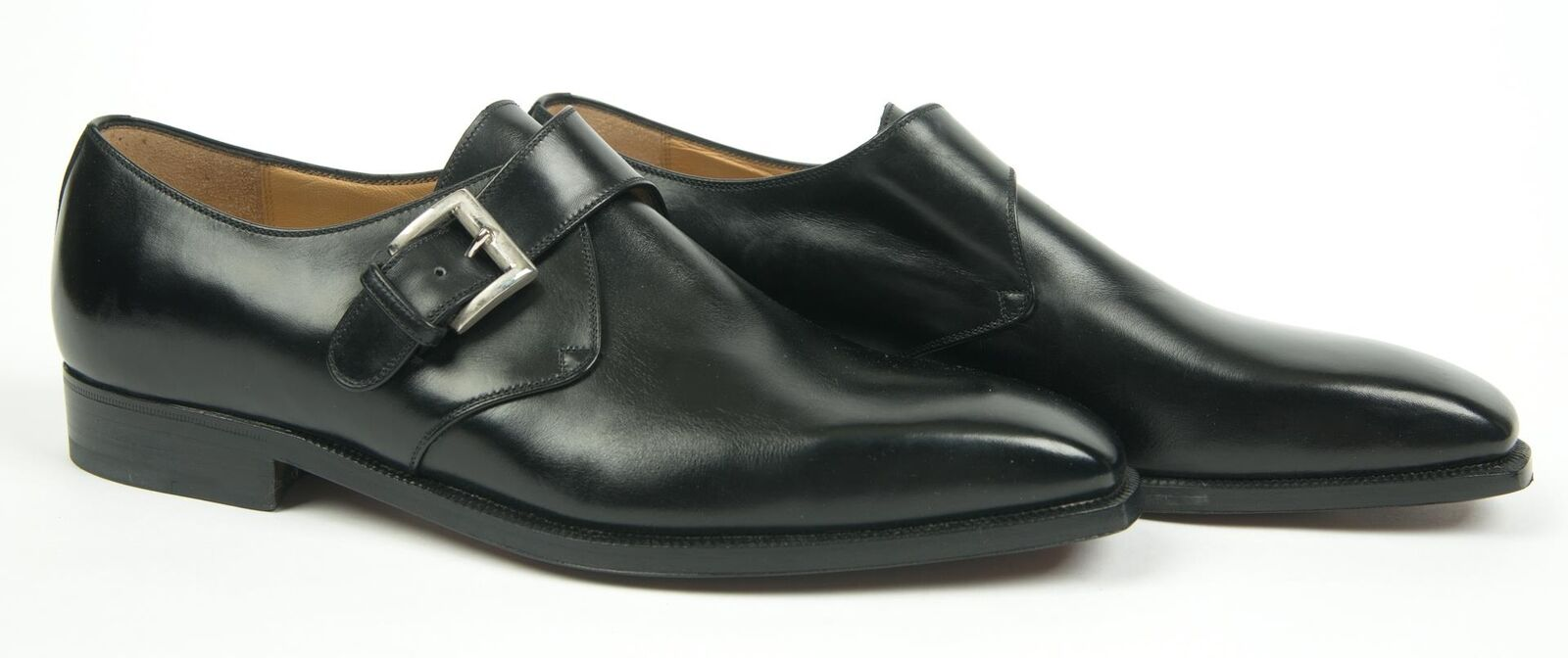 Brioni  1,000 NIB nero Leather Single Monk Strap Dress scarpe 10 US
