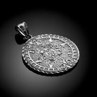White Gold Aztec Mayan Sun Calendar Pendant (m- 1.65 Inches)