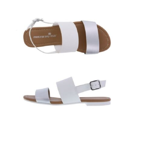 MONTAGO BAY WOMAN WHITE AND SILVER FLATS SANDAL