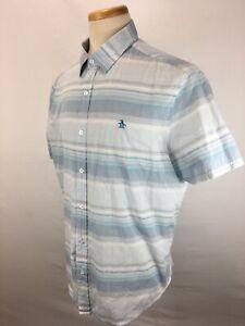 Penguin-Classic-Fit-Short-Sleeve-Striped-Button-Front-Shirt-Men-039-s-Size-XL