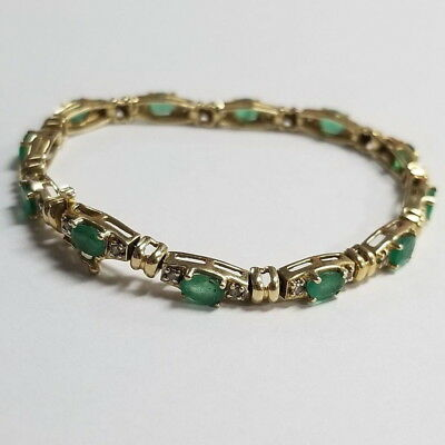 """NWT Genuine Peridot Gemstone Line Bracelet in Solid 14K Yellow Gold 7.25/"""" inches"""