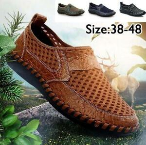 Mens-Leather-Casual-Loafers-Breathable-Driving-Moccasins-Slip-On-Mesh-Shoes-Size