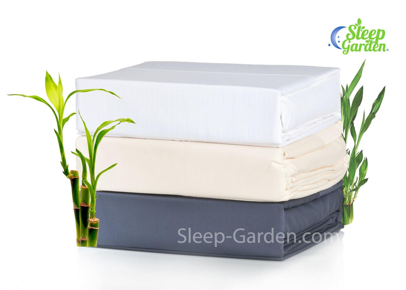 SLEEP GARDEN 100% Bamboo Sheets, 320tc, 3-4 Piece Sheet Set, All Sizes  3 colors