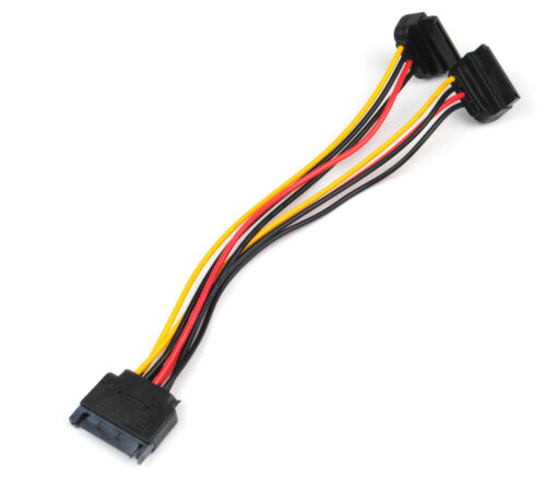 2 SATA 15-Pin Male to Dual 4-Pin Molex Female Y Splitter Adapter Power Cable