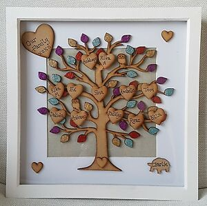 Large Personalised Family Tree Picture Box Frame Gift Mothers Day
