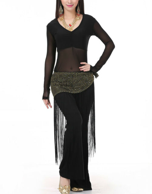 SF35# Belly Dance Costume (See-through Top,Fringe Scarf,Pants) 10 Colors