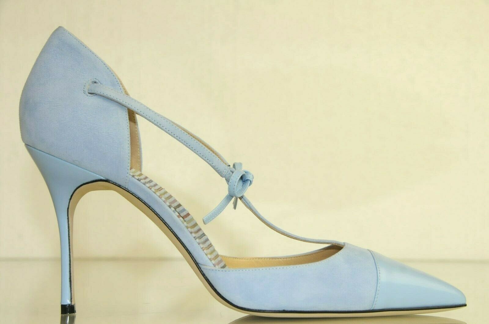 865 New Manolo Blahnik PARIGATAMA bluee Suede Leather Bow Ankle Strap shoes 41