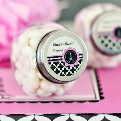 96 Parisian Paris Theme Party Bridal Wedding Personalized Candy Jars Favors Lot
