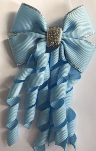 Filles Bleu pâle et argent handmade Korker Ruban School Hair Bow//Crochet//Clip